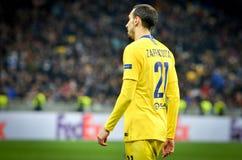 Kiev, UKRAINE - 14 mars 2019 : Davide Zappacosta pendant la correspondance d'UEFA Europa League entre Dynamo Kiev contre Chelsea  photographie stock