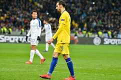 Kiev, UKRAINE - 14 mars 2019 : Davide Zappacosta pendant la correspondance d'UEFA Europa League entre Dynamo Kiev contre Chelsea  photo stock