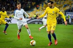 Kiev, UKRAINE - 14 mars 2019 : Davide Zappacosta pendant la correspondance d'UEFA Europa League entre Dynamo Kiev contre Chelsea  photo libre de droits