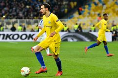 Kiev, UKRAINE - 14 mars 2019 : Davide Zappacosta pendant la correspondance d'UEFA Europa League entre Dynamo Kiev contre Chelsea  photographie stock libre de droits