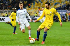 Kiev, UKRAINE - 14 mars 2019 : Davide Zappacosta pendant la correspondance d'UEFA Europa League entre Dynamo Kiev contre Chelsea  photos libres de droits