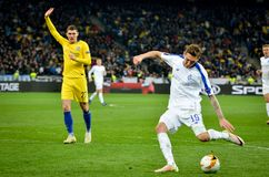 Kiev, UKRAINE - 14 mars 2019 : Denys Harmash pendant la correspondance d'UEFA Europa League entre Dynamo Kiev contre Chelsea (Lon photo stock