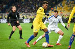 Kiev, UKRAINE - 14 mars 2019 : Joueur de Callum Hudson-Odoi pendant la correspondance d'UEFA Europa League entre Dynamo Kiev cont photos stock
