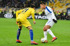 Kiev, UKRAINE - 14 mars 2019 : Joueur de Davide Zappacosta pendant la correspondance d'UEFA Europa League entre Dynamo Kiev contr photo stock