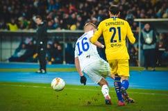 Kiev, UKRAINE - 14 mars 2019 : Joueur de Davide Zappacosta pendant la correspondance d'UEFA Europa League entre Dynamo Kiev contr photographie stock