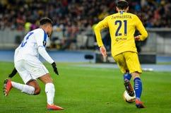 Kiev, UKRAINE - 14 mars 2019 : Joueur de Davide Zappacosta pendant la correspondance d'UEFA Europa League entre Dynamo Kiev contr images stock