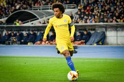 Kiev, UKRAINE - 14 mars 2019 : Joueur de Willian pendant la correspondance d'UEFA Europa League entre Dynamo Kiev contre Chelsea  photo stock