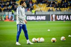 Kiev, UKRAINE - 14 mars 2019 : joueurs Chelsea de stage de formation de Pré-match pendant la correspondance d'UEFA Europa League  image stock
