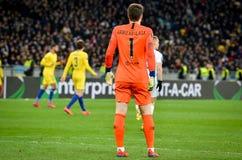 Kiev, UKRAINE - 14 mars 2019 : Kepa Arrizabalaga pendant la correspondance d'UEFA Europa League entre Dynamo Kiev contre Chelsea  photo stock