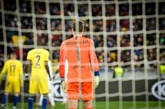 Kiev, UKRAINE - 14 mars 2019 : Kepa Arrizabalaga pendant la correspondance d'UEFA Europa League entre Dynamo Kiev contre Chelsea  photographie stock