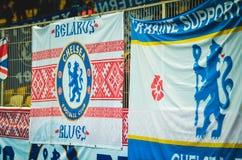 Kiev, UKRAINE - 14 mars 2019 : Les fans de Chelsea soutiennent l'?quipe pendant la correspondance d'UEFA Europa League entre Dyna photos libres de droits