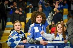 Kiev, UKRAINE - 14 mars 2019 : Les fans de Chelsea soutiennent l'?quipe pendant la correspondance d'UEFA Europa League entre Dyna photos stock