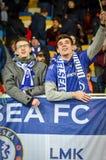 Kiev, UKRAINE - 14 mars 2019 : Les fans de Chelsea soutiennent l'?quipe pendant la correspondance d'UEFA Europa League entre Dyna photographie stock