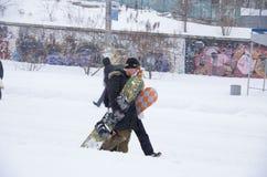 Tempête de neige à Kiev Image libre de droits