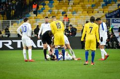 Kiev, UKRAINE - 14 mars 2019 : Olivier Giroud pendant la correspondance d'UEFA Europa League entre Dynamo Kiev contre Chelsea (Lo photo stock