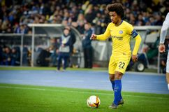 Kiev, UKRAINE - 14 mars 2019 : Willian pendant la correspondance d'UEFA Europa League entre Dynamo Kiev contre Chelsea (Londres,  photo stock