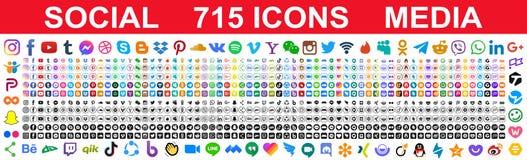 Free Kiev, Ukraine - May 02, 2021: Set Of 715 Popular Social Media Icons. Facebook, Instagram, Twitter, Youtube, Pinterest, Behance, Stock Photo - 217645620