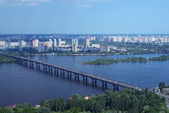 Kiev, Ukraine - 25 May 2015: Aerial view of the city buildings, Dnieper River and bridges from Monumental statue Mother Motherland Stock Photo