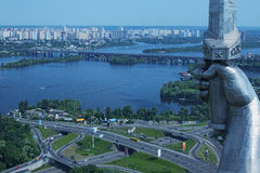 Kiev, Ukraine - 25 May 2015: Aerial view of the city buildings from Monumental statue Mother Motherland Stock Photo