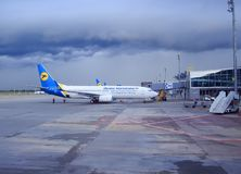 Kiev. Ukraine May 5, 2016: airline the plane is at the airport in cloudy weather. Borispol airport stock images