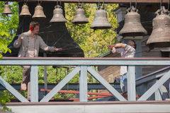 Kiev, Ukraine - May 05, 2016: Bell-ringers play on the set of bells Stock Image