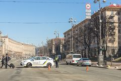 Kiev,Ukraine - May 06, 2017:Central street of ukrainian capital Kyiv Khreschatyk closed for traffic by police car and. Officer. Pedestrian area in centre stock photos