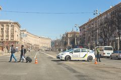 Kiev,Ukraine - May 06, 2017:Central street of ukrainian capital Kyiv Khreschatyk closed for traffic by police car and stock photo