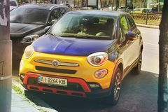 Kiev, Ukraine - May 3, 2019: Colorful Fiat car in the city stock photography
