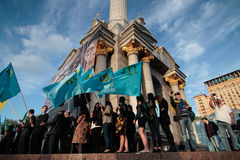 KIEV,UKRAINE - 18 May, 2015: Crimean Tatars mark the 71th anniversary of the forced deportation of Crimean Tatars from Crimea Royalty Free Stock Photography