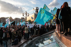 KIEV,UKRAINE - 18 May, 2015: Crimean Tatars mark the 71th anniversary of the forced deportation of Crimean Tatars from Crimea Royalty Free Stock Photo