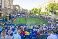 KIEV, UKRAINE - MAY 26, 2018: Fan-zone of the football fans of the final of the UEFA Champions League. People and football fans wa royalty free stock photo