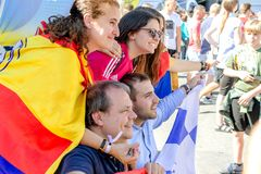 Kiev, Ukraine, May 2018: - Fans of Real Madrid make a photo before the final match of the Champions League UEFA between Liverpool royalty free stock photo