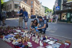 Kiev, Ukraine - May 19, 2019: Flea market in the Andrew`s Descent. The historical part of the city royalty free stock photography