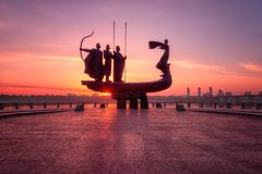 Kiev, Ukraine - May 05, 2018: Founders of Kyiv Kiev monument at sunrise, beautiful city view with rising sun and fiery sky royalty free stock photos