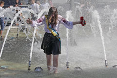 Kiev, Ukraine - May 27, 2016: Kiev graduates bathe in fountains Stock Images