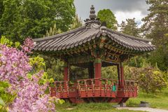 Korean traditional garden and pagoda in a public garden in Kiev Stock Image