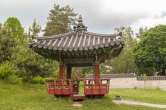 Korean traditional garden and pagoda in a public garden in Kiev Royalty Free Stock Image