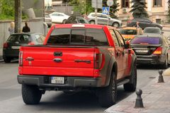 Kiev, Ukraine - May 3, 2019: A large Ford Raptor SUV in the city stock images