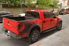 Kiev, Ukraine - May 3, 2019: A large Ford Raptor SUV in the city royalty free stock photos