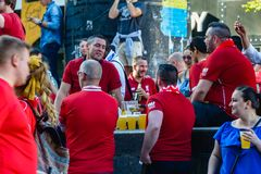 Champions League final 2018 in Kyiv. Kiev, Ukraine - May 26, 2018: Liverpool football fans rest before the Champions League final 2018 in Kyiv royalty free stock photo