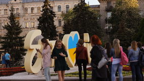 KIEV UKRAINE May 5, 2017 Maidan . Eurovision installation. People are photographed against the background. Khreshchatyk stock video footage