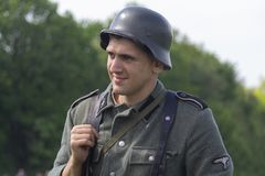 Kiev, Ukraine - May 09, 2018: Man in the form of a Wehrmacht soldier at the historic reconstruction royalty free stock image