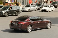 Kiev, Ukraine - May 3, 2019: Maserati in the city at high speed royalty free stock images