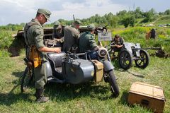 Kiev, Ukraine - May 09, 2018: Men in the clothes of German soldiers at historical reconstruction royalty free stock photo