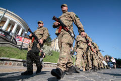 Kiev, Ukraine - May. 19, 2015: Military servicemen and women from 'Sich' batallion Stock Photography