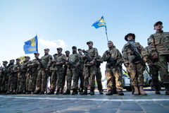 Kiev, Ukraine - May. 19, 2015: Military servicemen and women from 'Sich' batallion Royalty Free Stock Photography