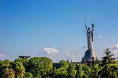 KIEV, UKRAINE - MAY 09: The Motherland Monument also known as Rodina-Mat', decorated with red poppy flower wreath on Victory Stock Images