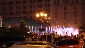 KIEV, UKRAINE. May 7, 2017. Opening of the Eurovision in Kiev. Musical fountain on maidan nezalezhnosti. The audience of stock video footage