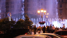 KIEV, UKRAINE. May 7, 2017. Opening of the Eurovision in Kiev. Musical fountain on maidan nezalezhnosti. The audience of. The music contest celebrates the stock video footage