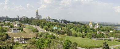 KIEV, UKRAINE - May 7, 2017: Panorama of the city overlooking the Kiev Pechersk Lavra stock photography
